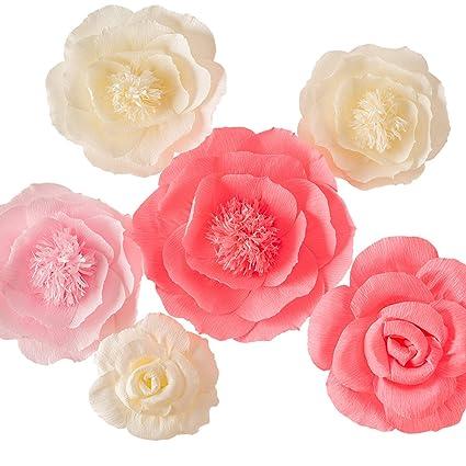 Amazon.com: Juego de 6 flores de papel crepé rosas y marfil ...