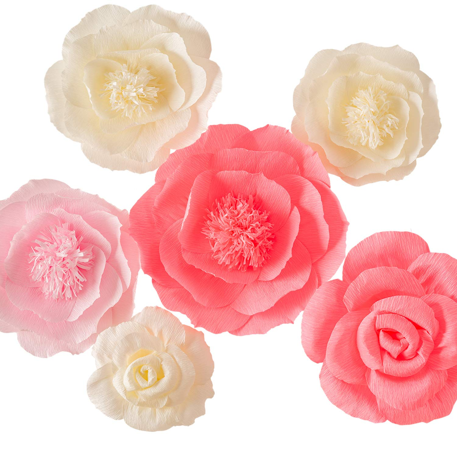 Large Pink Ivory and Watermelon Pink Crepe Paper Flowers (Set of 6 ...