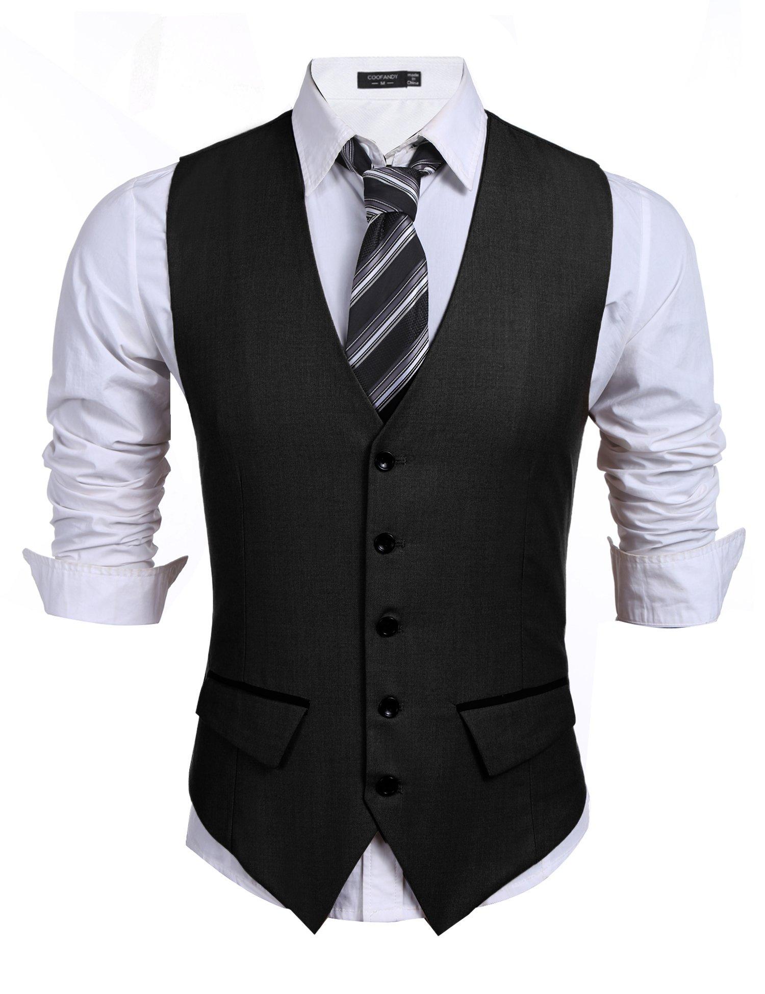 COOFANDY Men's Business Suit Vest,Slim Fit Skinny Wedding Waistcoat (Medium, Black by COOFANDY
