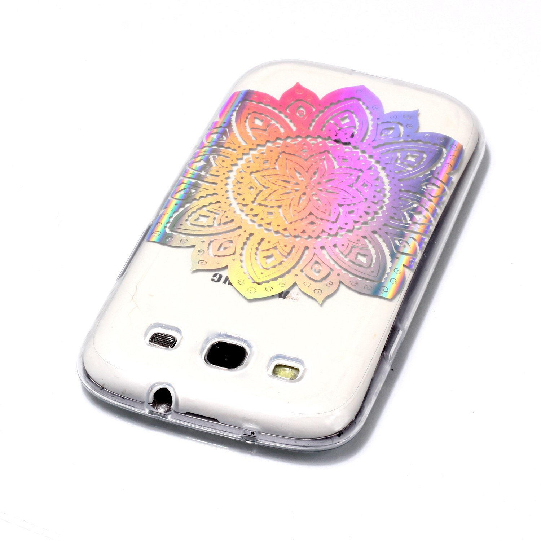 KunyFond Silicone TPU Housse Transparent Laser Motif Brillante Glitter Strass Cristal Gel /Étui Hybrid Absorption Scratch Bumper Couverture Coque Compatible Samsung Galaxy S3//S3 Neo-Fleur Papillon
