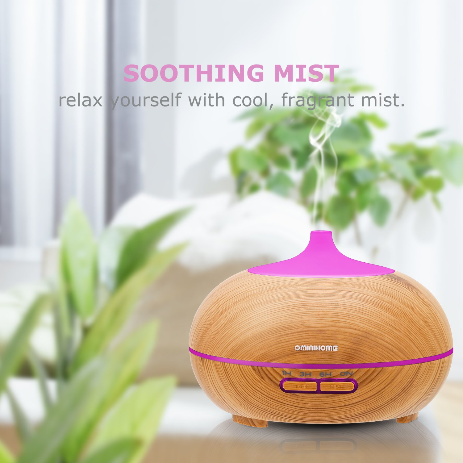 Ominihome Aromatherapy Essential Oil Diffuser, Wood Grain 300ml, 4 Time Setting, Ultrasonic Cool Mist Humidifier for Home, Office, Spa Baby, Yoga (shallow wood grain)