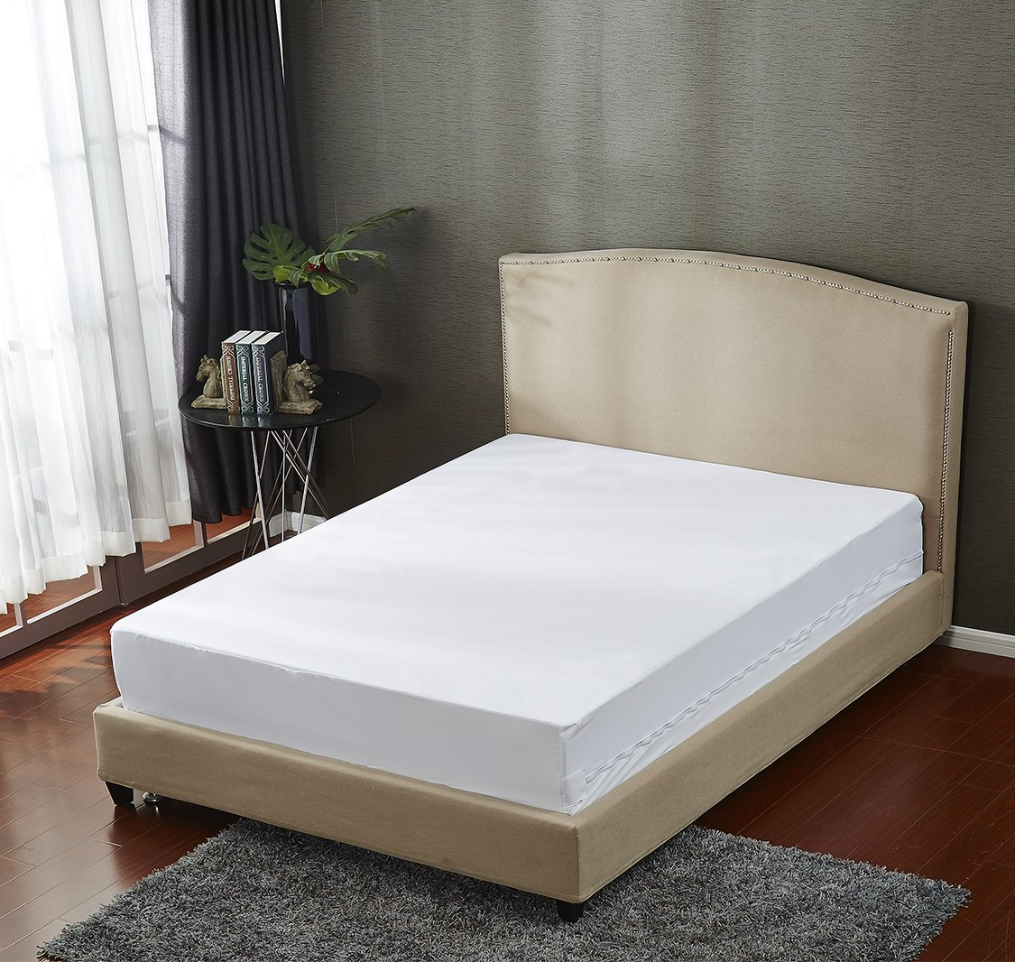 Mattress Protector Bedbug Waterproof Zippered Encasement Hypoallergenic Premium Quality Cover Protects Against Dust Mites Allergens
