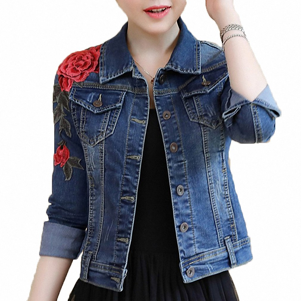 Womens Denim Jacket Embroidery Floral Long Sleeve Jeans Coat Skinny Jackets Huiwa