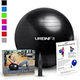 URBNFit Exercise Gym Ball (Multiple Sizes And Colors) For Stability & Yoga - Workout Guide Included & Quick Pump Included - Anti Burst Professional Quality Design