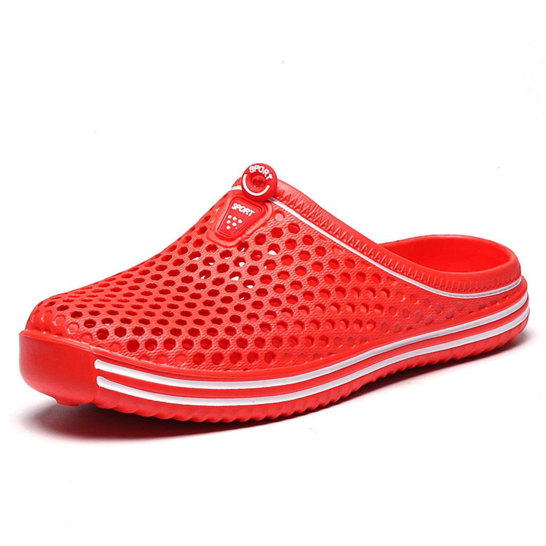 Sintiz Womens Quick-Dry Garden Clogs Shoes Comfort Walking Sandal Slippers Non-Slip Beach Shower Water Shoes Red 5.5 B(M) US
