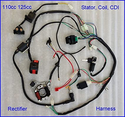 amazon com: 50cc 70cc 110cc atv quad full electrics cdi coil rectifier wiring  harness: automotive