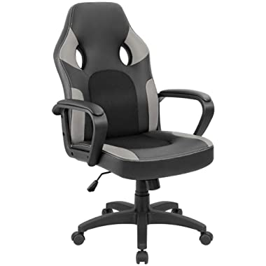 Furmax Office Chair Leather Desk Gaming Chair, High Back Ergonomic Adjustable Racing Chair,Task Swivel Executive Computer Chair Headrest and Lumbar Support (Grey/Black)