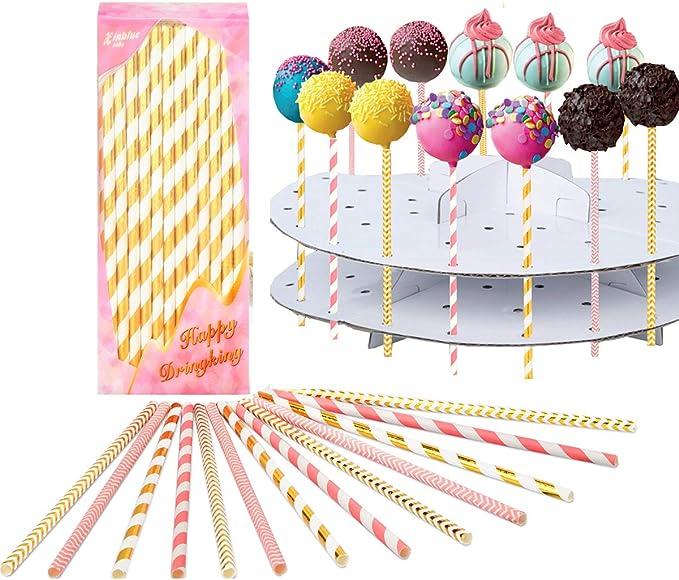 BYFRI 10cm White Plastic Lollipop Sticks Hollow Stick for Crafts Cake Pops Lollipops 80pcs