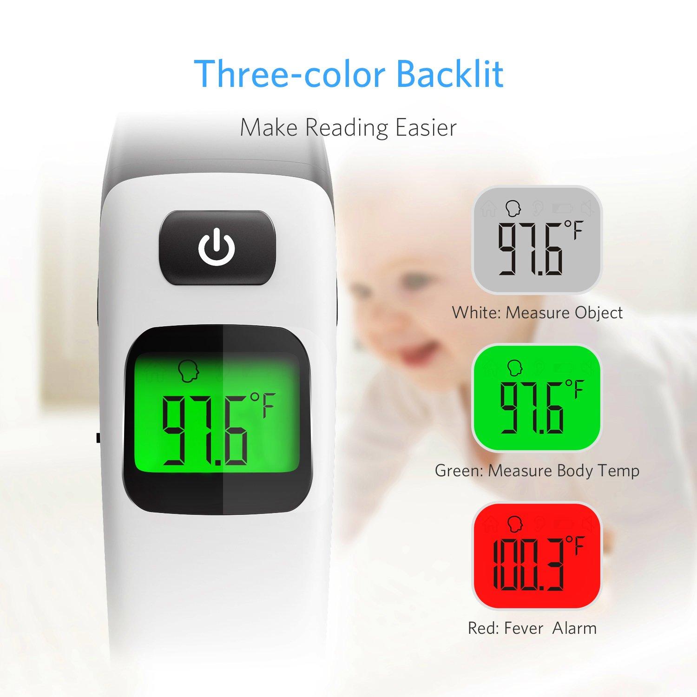 HOMIEE Termómetro Infrarrojo Digital Médico de Frente y Oído para Bebés, Niños y Adultos, Certificación FDA CE Alarma de Fiebre y Lectura instantánea ...