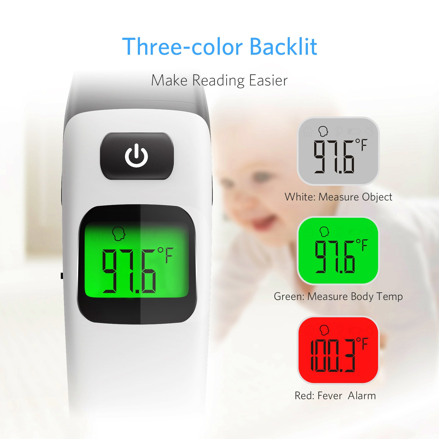 HOMIEE Black Thermometer, Ear Thermometer for Kids, Non Contact Infrared Digital Forehead Thermometer with Fever Alert and Three Color Backlit for Baby and Adults, FDA and CE Certifications Approved by HOMIEE (Image #3)