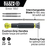 Klein Tools 32581 4-in-1 Precision Screwdriver Set, Electronics Screwdriver with Industrial Strength Phillips and Slotted Bits
