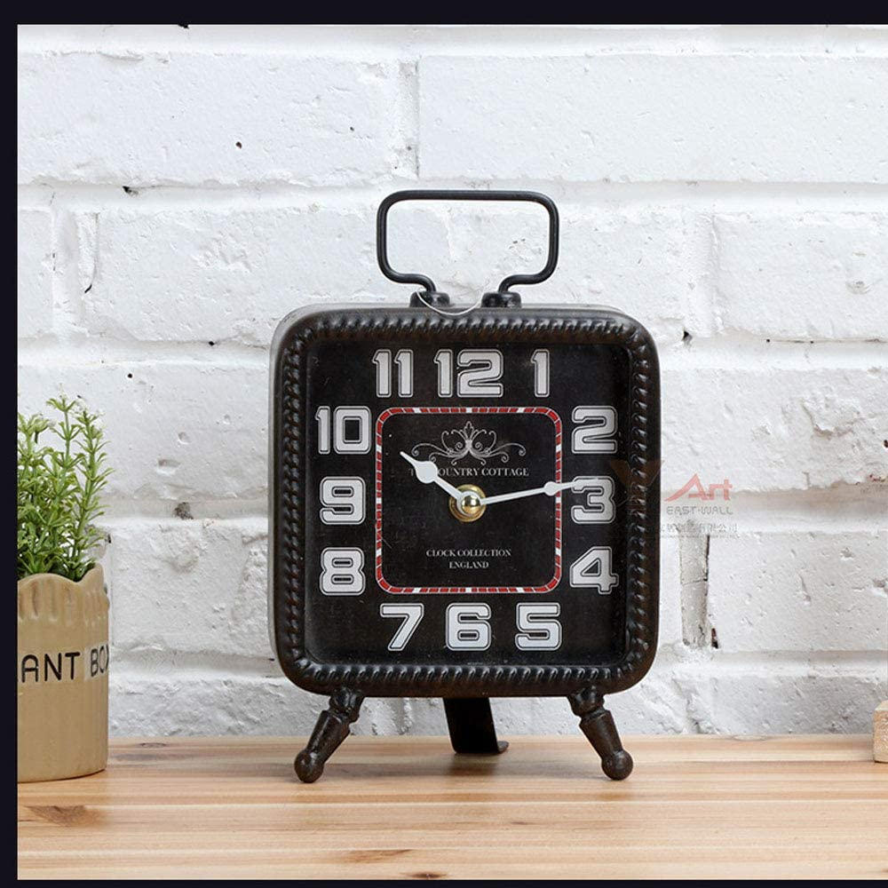 Three Legs European Style Vintage Home Metal Desk Clock Non-Ticking /& Battery Operated with HD Glass Ornament Clock for Indoor Decor Maxspace Retro Square Table Clock Black