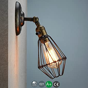 Wandleuchte E27 Wandlampe Industrie Draht Korb Cage Käfig mit ...