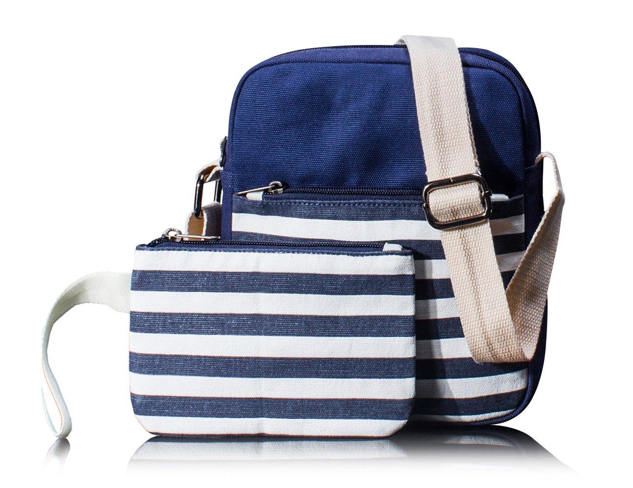 Canvas Messenger Bag Crossbody Bags for Women Purse Travel Shoulder Bag Pencil Case 2 PCS by Leaper (Blue)