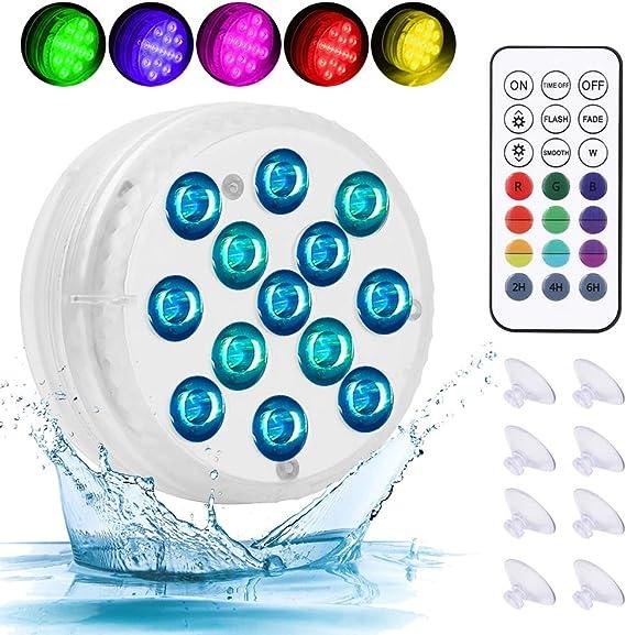 RGB LED Licht Wasserdichte mit Fernbedienung 4er 13 LEDs und 8pcs Saugnapf f/ür Vase Base Party Halloween Weihnachten Schwimmbad Teich Hochzeit Poolbeleuchtung Unterwasser Timer