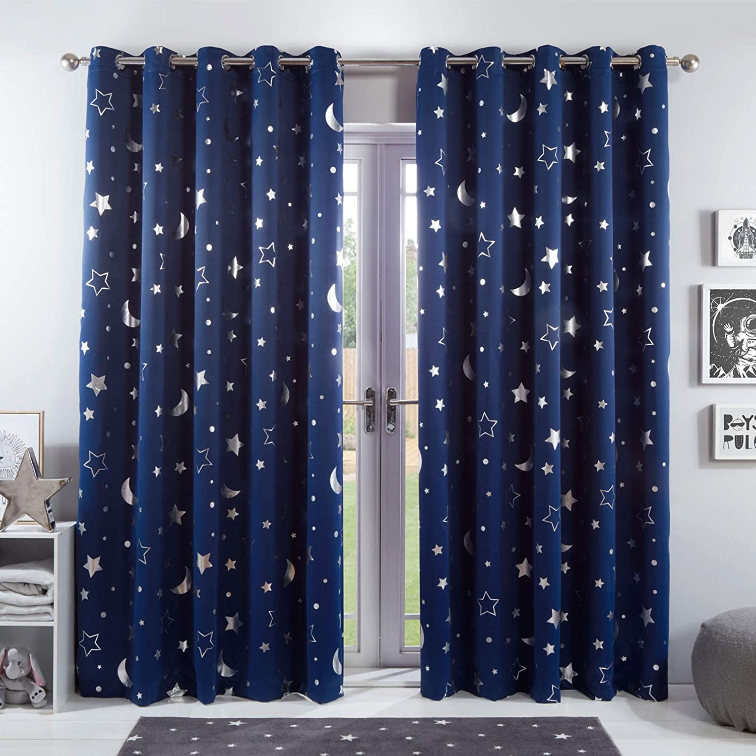 Star Thermal Insulated Curtains Eyelet Printed Window Bedroom Drapes