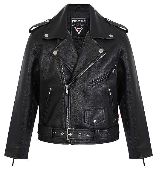 great deals 2017 enjoy clearance price new concept Skintan Childrens Kids Brando - Leather Motorcycle Biker Jacket Black