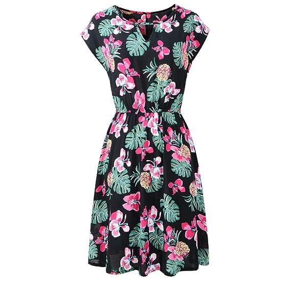 ... Mujer Verano Estampado Floral La Playa Mini Vestido ImpresióN Redondo Manga Corta Cintura EláStica Casual Ltra Mujer Tejido Piqué Vestidos: Amazon.es: ...