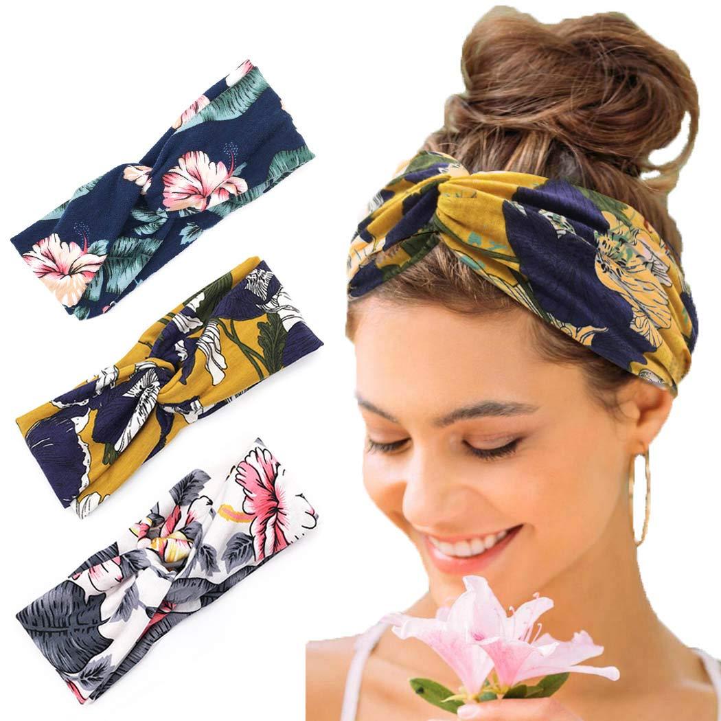 5-PACK Twisted Hair Wrap Headband Stretchable Turban Yoga Hairband Fashion