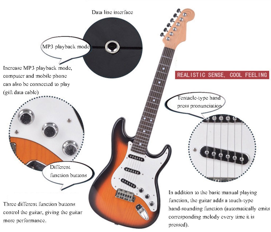 JYKOO Guitarra Eléctrica: Se Puede Conectar A Un Teléfono Móvil/Computadora, Proporcionar Auriculares/Cable De Datos/Cordón, Ukelele, Calidad De Sonido De ...