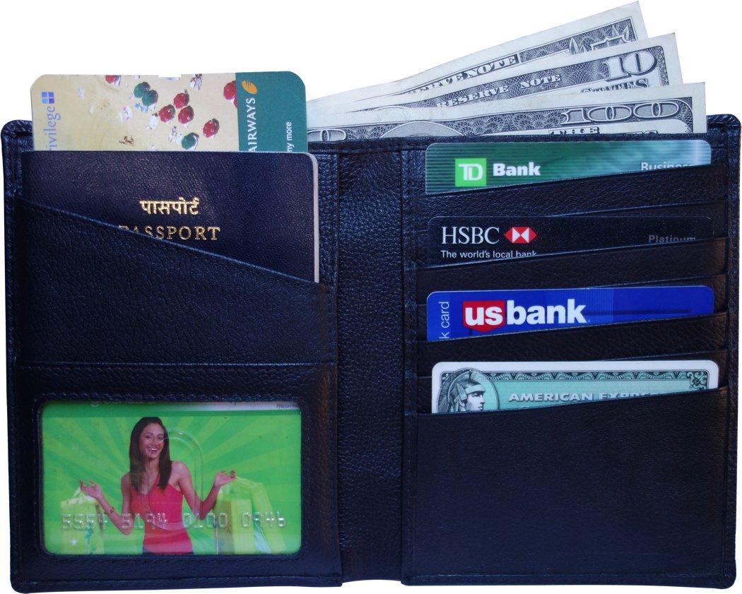 AurDo RFID Blocking Real Leather Passport Holder Cover Case & Travel Wallet for Men & Women ADMWAP0221