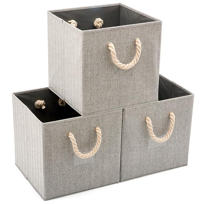 EZOWare 3 pcs Cajas de Almacenaje, Cubo Decorativa de Tela Plegable Resistente con Manijas para Ropa, Juguetes, Armario, Dormitorio, Estanterías y Mas ...