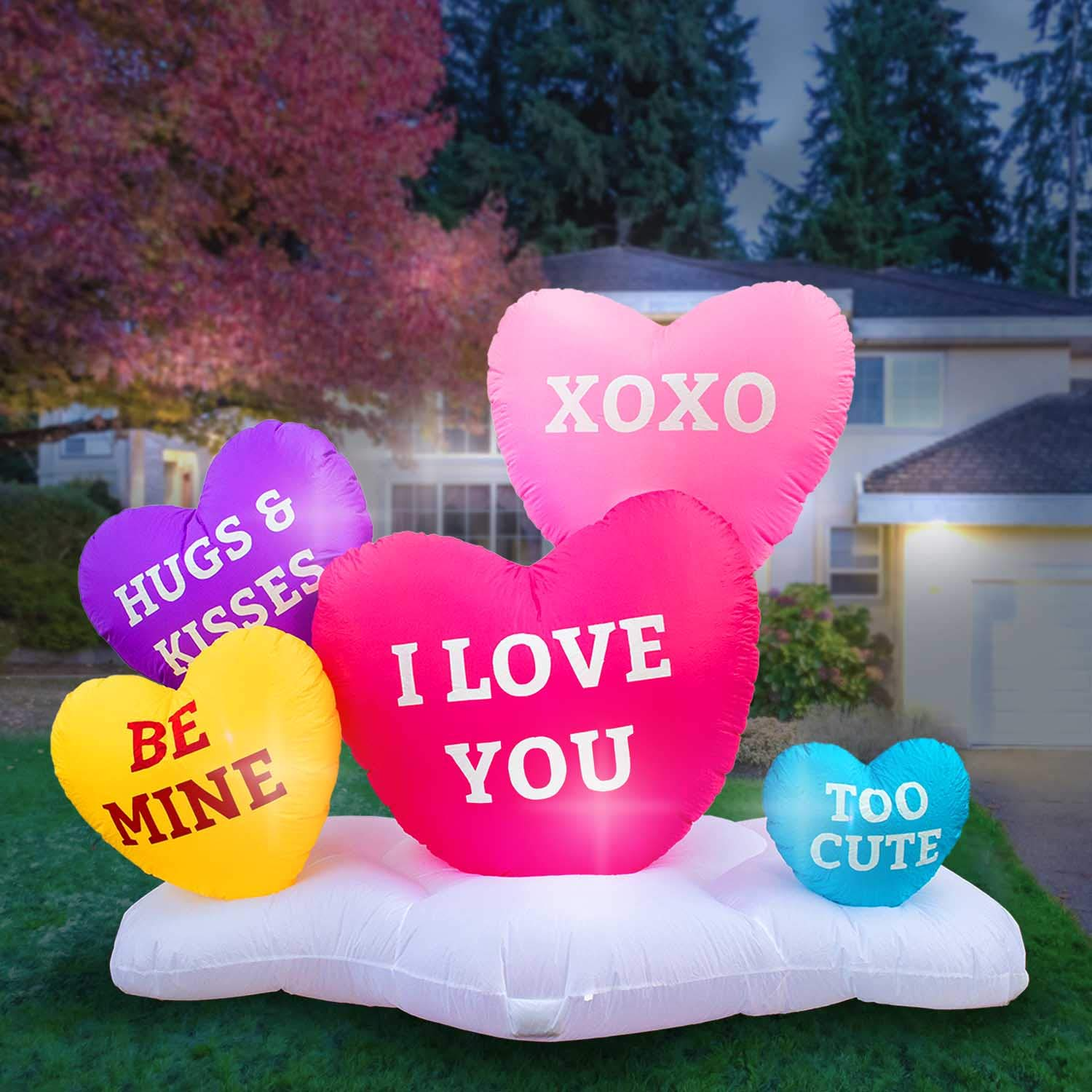 Holidayana 8 Foot Inflatable Hearts Decoration, Outdoor Yard Decor, Includes Built-in Bulbs, Tie-Down Points, and Powerful Built in Fan