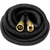 HEAVY DUTY {Improved Design} 50' Feet Expandable Hose Set, Strongest Garden Hose On Earth. With All Solid Brass Connector + Storage Sack, by GrowGreen