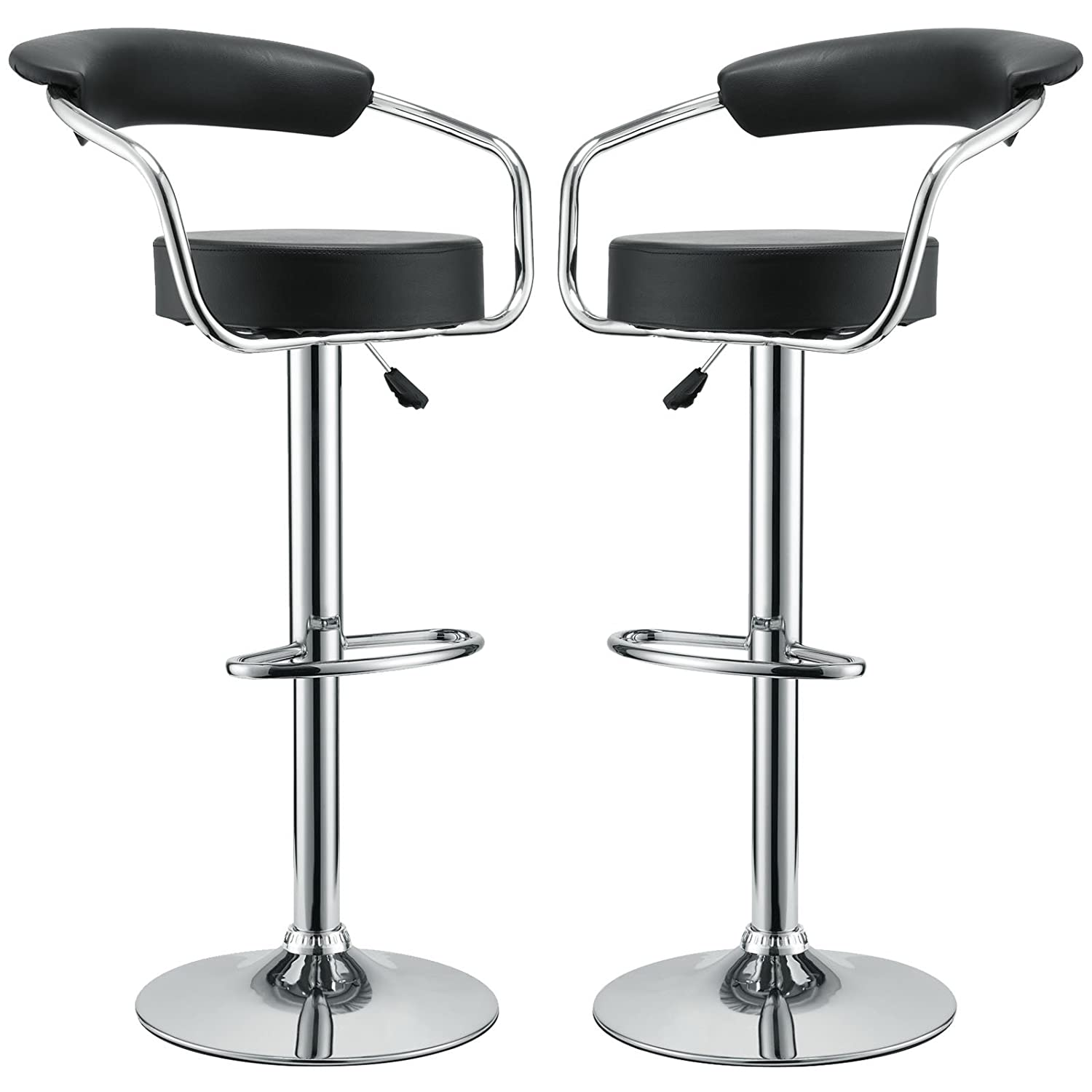 Amazoncom Modway Diner Retro Faux Leather Adjustable Bar Stools In