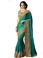 Sareeshop Georgette Saree With Blouse Piece (Pritigreen_Green_Free Size)