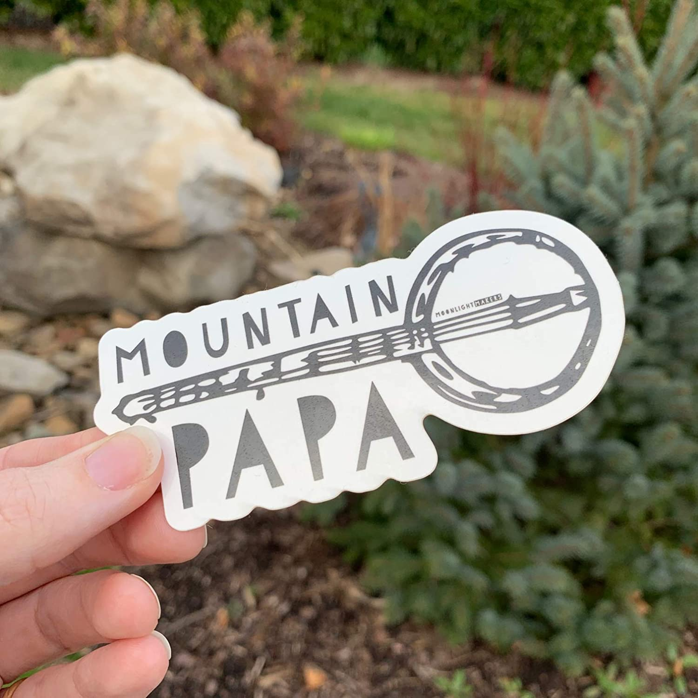 Vinyl Black Weatherproof Bike Sticker Car Sticker Mountain Papa Die Cut Bumper Sticker