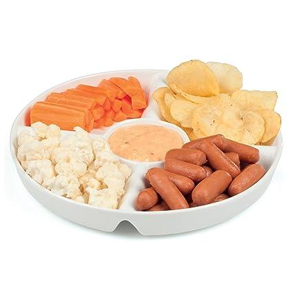 Plato para aperitivos blanco de cerámica, porcelana, bandeja para salsas, plato para aperitivos