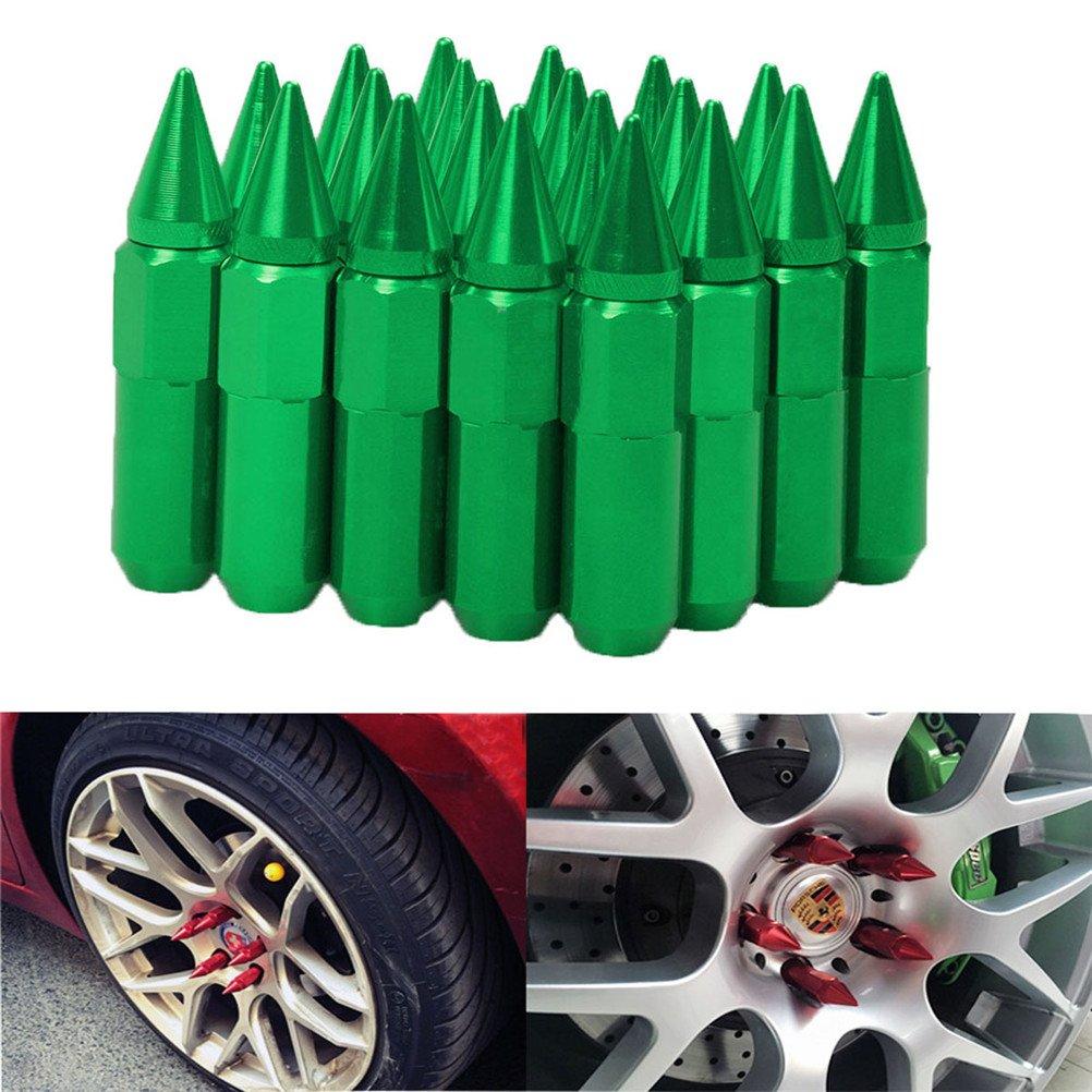 EKYAOMEI 20pcs Aluminum Wheel Hug Nut 60mm 12x1.5 Spike Mounted Extend Nut Refit Hex Lug Nut 12X1.5,green