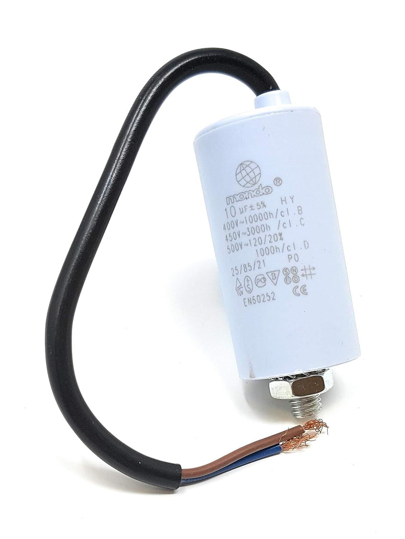 10 µ F Condensateur de moteur avec câ ble, 450 V, Blanc Mondo