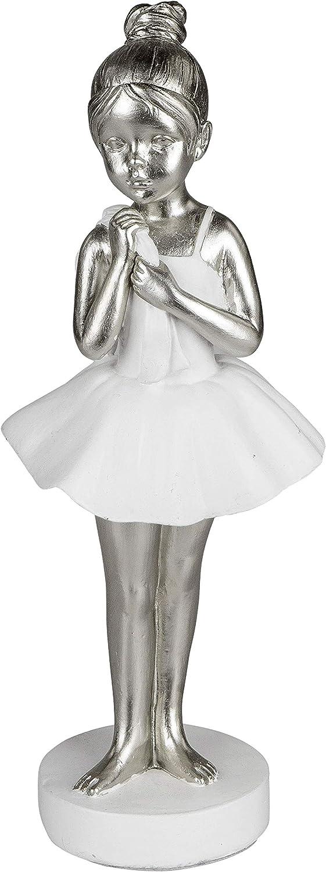 miniatura color blanco y plateado arte abstracto ballet ballet dekojohnson 23 cm bailarina estatua de mujer de pie Figura decorativa moderna de bailarina