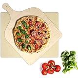 KLAGENA Set de Piedra y espátula de Pizza y Pan para Horno y Grill – Pala de Pizza/Pala para panes caseros