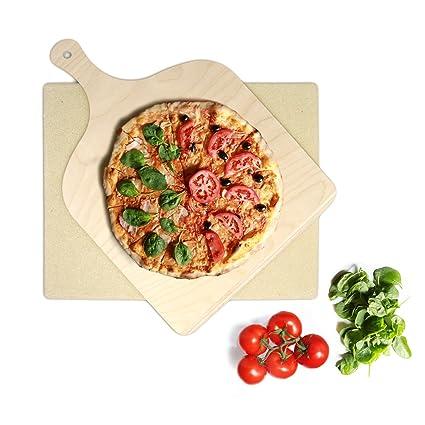 KLAGENA Set de Piedra y espátula de Pizza y Pan para Horno y Grill – Pala