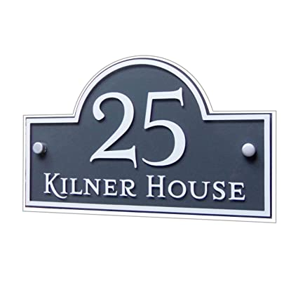 05981e3d412f House Number Sign Address Plaque Street Name plate Modern 'Bridge'  Personalised MADE TO ORDER Slate Grey & White Glass Effect Acrylic:  Amazon.co.uk: Kitchen ...