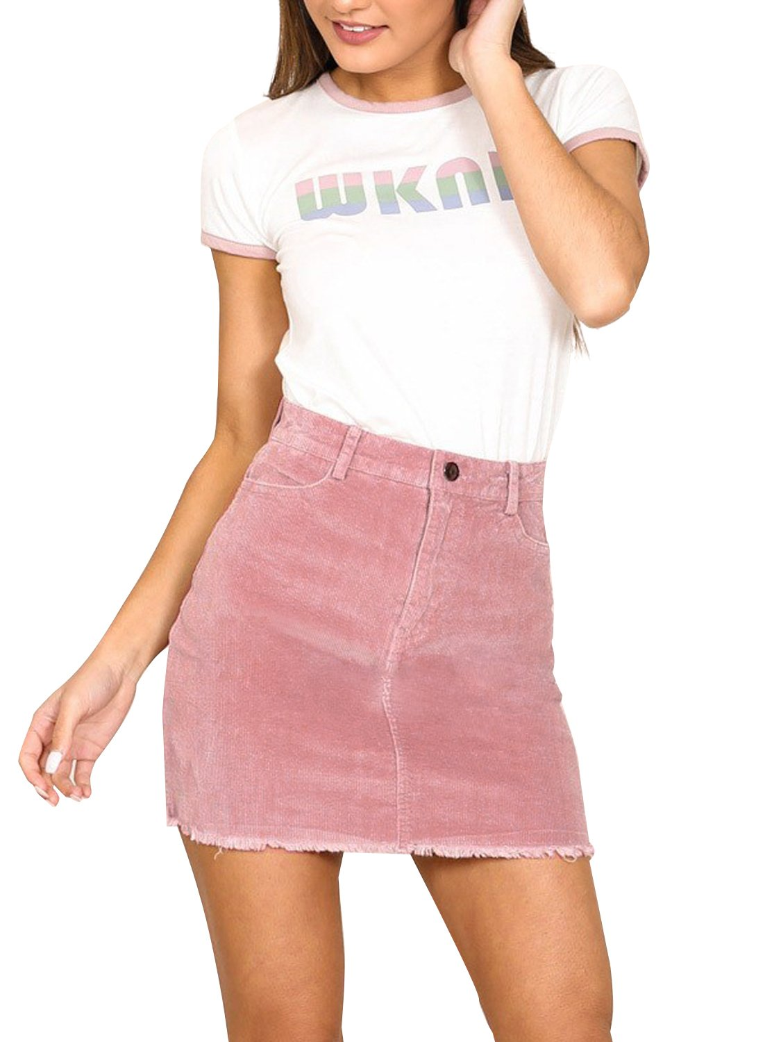 Simplee Women's Vintage Retro Corduroy High Waisted Bodycon Mini Skirt Pink Pink 4/6