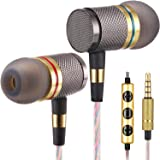 tron YSM1000 Headphones, Earbuds, High Definition, in-Ear, Noise Isolating, Heavy Deep Bass for Apple iPhone, iPod, iPad, Samsung Cell Phones and Smartphones (Gold with Microphone)