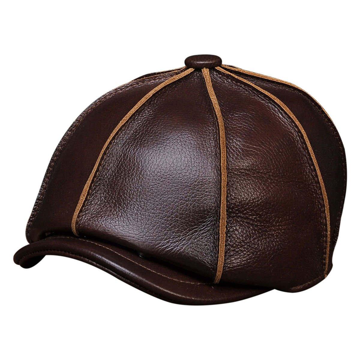 Haisum Men s Leather Flat Cap 0b322662d04
