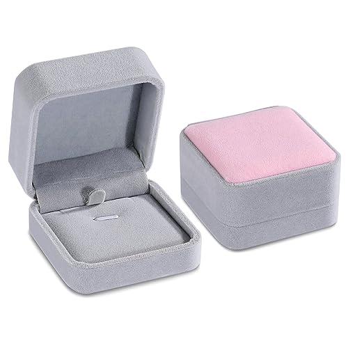 Amazon Com Anazoz Jewelry Box Pink And Gray Velvet Pendant Case