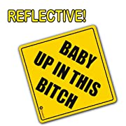 Zone Tech Baby Up On This Bitch Vehicle Bumper Magnet - Premium Quality Convenient Reflective Baby Up On This Bitch Vehicle Safety Funny Sign Bumper Magnet