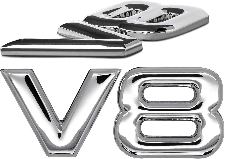 V8 Emblem Zeichen Chrom Schriftzug 3d Logo Auto Aufkleber Tuning Sticker Metall Auto