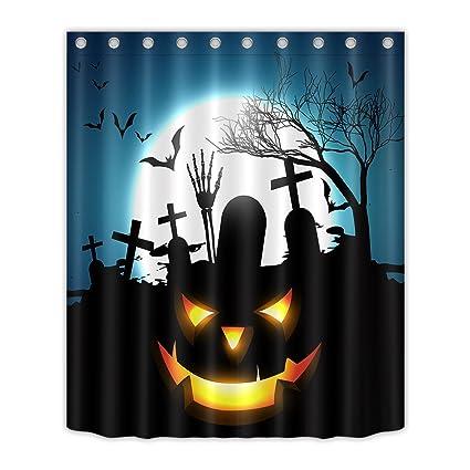 LB Halloween Shower Curtain Set Tomb Dead Tree Bat Pumpkin Fabric Bathroom Decor Waterproof Bathtub