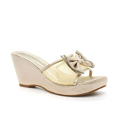 41de3dc97c London Footwear Carla, Women's Diamante Bow Wedge Shoes: Amazon.co ...