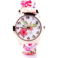 Micacchi Analog Multi Colour Dial Floral Print Belt Women Watch & Girls Watch - Pnk Floral-M