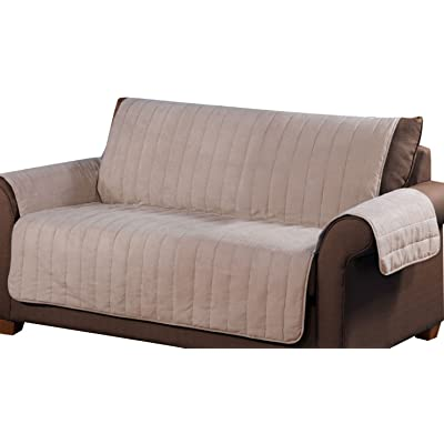 Tailor Solution Microsuede Loveseat Furniture Protector, Pet Safe, Stain Repellant & Waterproof (Tan): Kitchen & Dining