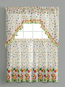 3PC Rod Pocket Printed Kitchen Curtain Tier Swag Valance Set Kitchen Decor Bathroom Window Curtain Window Treatment Panels 36 INCH Curtains( Sunflower )