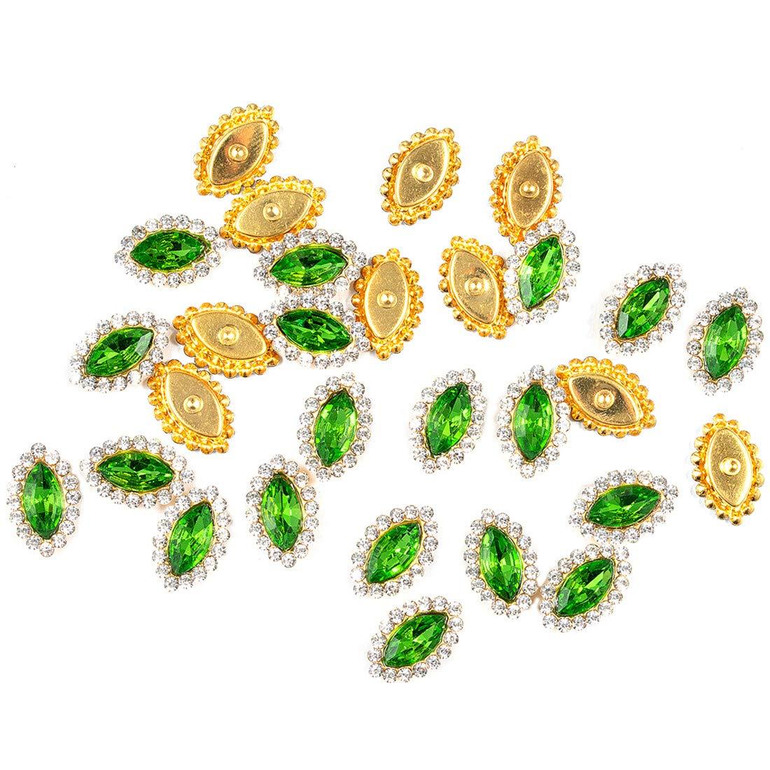 115個 クリスタルラインストーン 縫い付け 明るいラインストーン フラットバックビーズボタン ダイヤモンド付き DIY クラフト 衣類 衣類 バッグ 靴 ドレス ウェディングパーティー装飾用 (グリーン)   B07MGFK3RK